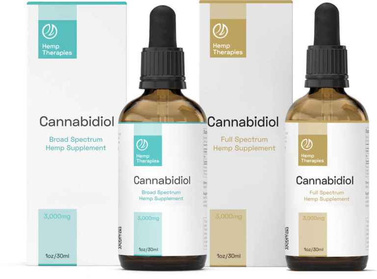 2 Hemp Therapies branded CBD Oil bottles and boxes with aqua on white and gold on white printing with a grey background.