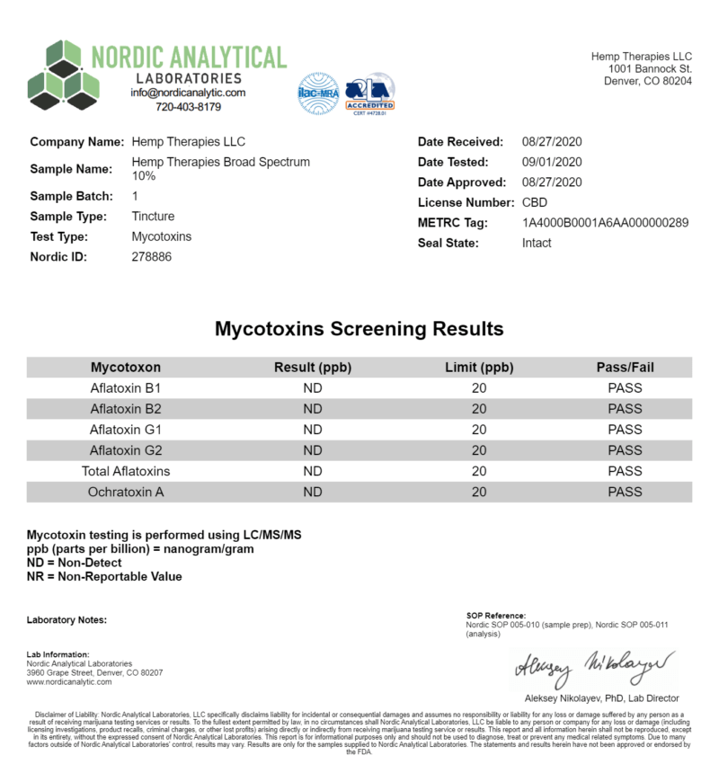 Third-party Certificate of analysis report confirming Mycotoxins
