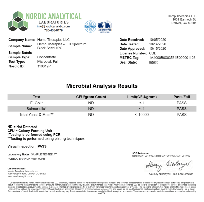 Third-party Certificate of analysis report confirming Microbial levels.