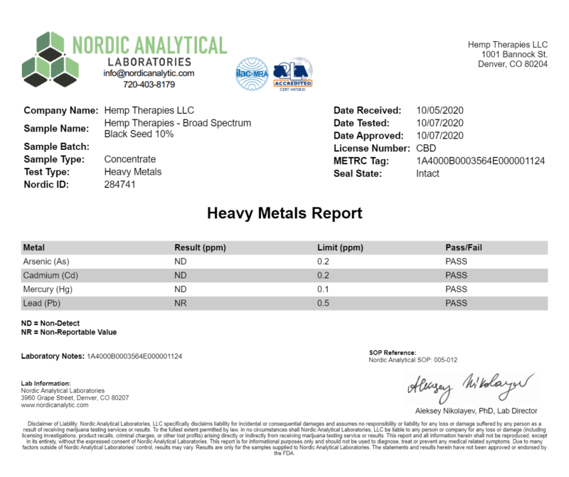 Third-party Certificate of analysis report confirming Heavy metals